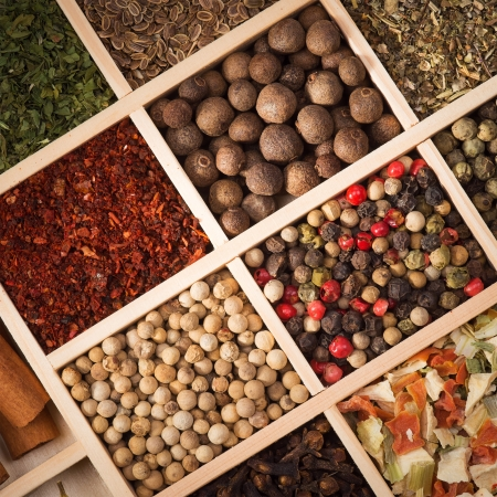 Set of spices in a wooden box Stock Photo