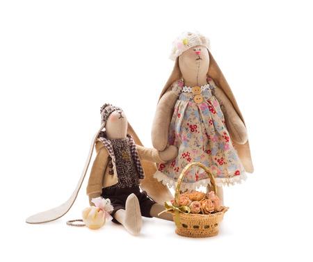 Textile handmade toys, rabbits photo