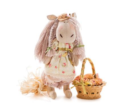Textile handmade toy on white background - horse photo