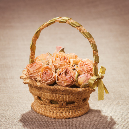 Cart with dry roses on canvas photo