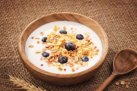 Muesli with yogurt and fresh blueberries Stock Photo