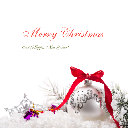 Christmas tree ornaments on white background with copy space Stock Photo