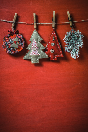 Christmas soft toys on clothesline with copy space