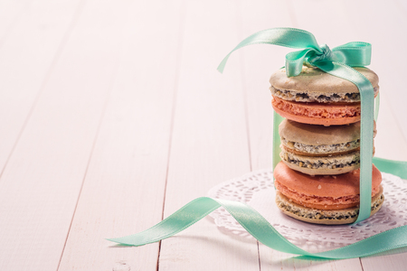 French desserts Macaron with space for text Stock Photo