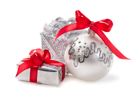Christmas decorations and gifts isolated on white background Stock Photo