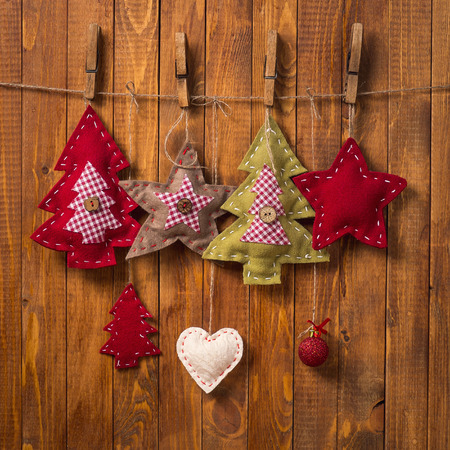 Christmas decorations handmade on wood background