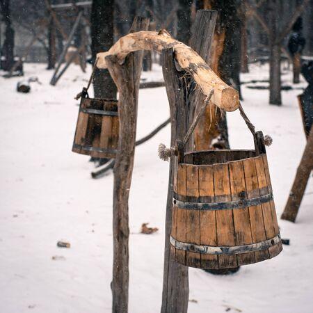yoke: Ancient Russian yoke with buckets Stock Photo