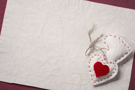 backcloth: Textile toys in the form of heart on Valentines Day with place for text
