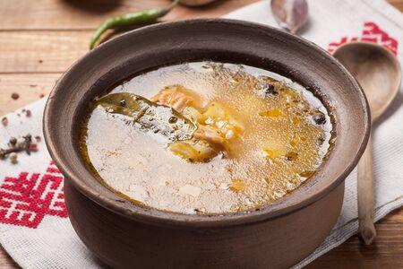 fresh fish: National Russian fish soup, closeup