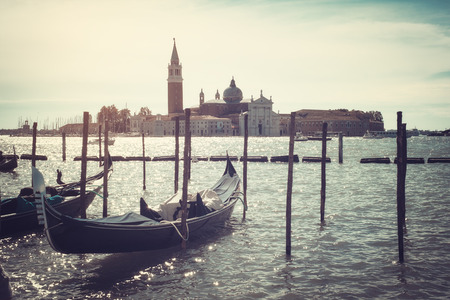 san marco: Gondolas docked on Piazza San Marco Venice aged