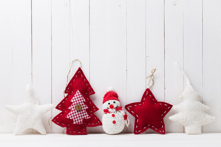 holiday symbol: Christmas toys in the background of wood with space for text Stock Photo