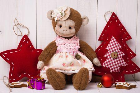 2016 - year of the monkey. Toy monkey handmade Christmas gifts
