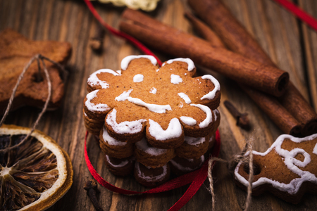 christmas food: Christmas cookies and spices Stock Photo