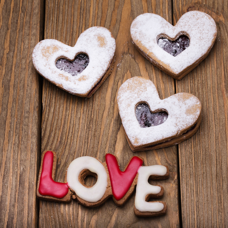 Cookies in the form of symbols of Valentines Day Stock Photo
