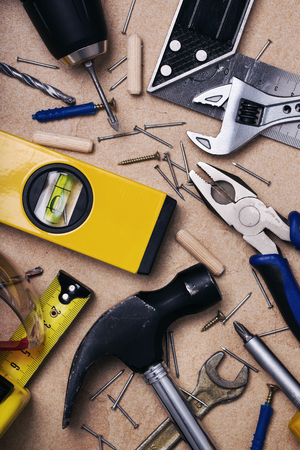 Set of tools to work at home, top view