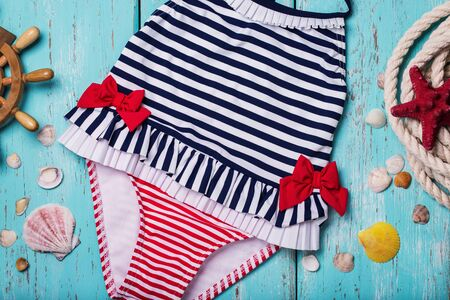 childrens': Childrens swimsuit closeup, top view Stock Photo