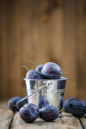 Freshly picked plums in a bucket on a wooden background with space for text