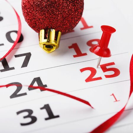 important event: Christmas date is highlighted in the calendar as an important event Stock Photo
