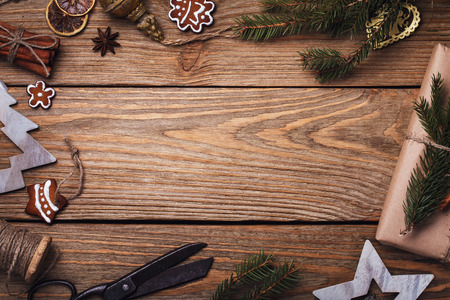 Frame from Christmas elements with space for text, top view Stock Photo