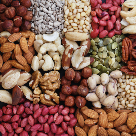 Top view of the background nuts, close-up Stock Photo