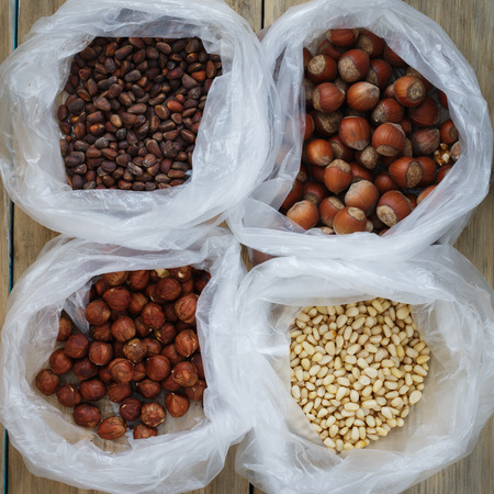 Top view of the packets with nuts