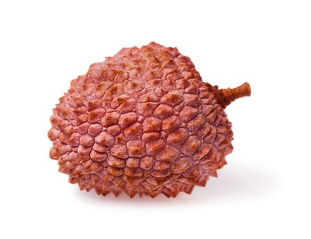 Lychee isolated on white background, one fruit closeup