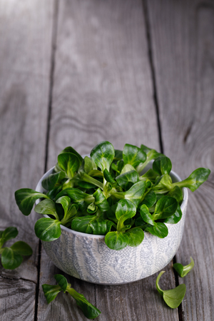 fresh lettuce leaves in a cup on a wooden table close-up, with space for text Reklamní fotografie