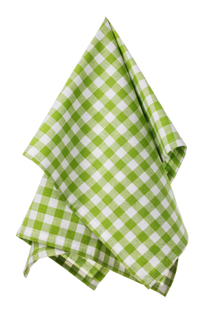 Checkered cotton napkin of green and white color, isolated Foto de archivo - 111424573
