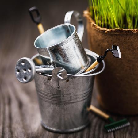 Garden tools in a metal bucket on a wooden table, closeup Reklamní fotografie