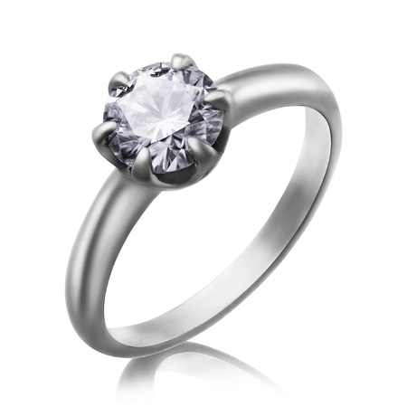 Beautiful white gold and diamond ring. Isolated object. Photo taken by stacking 写真素材