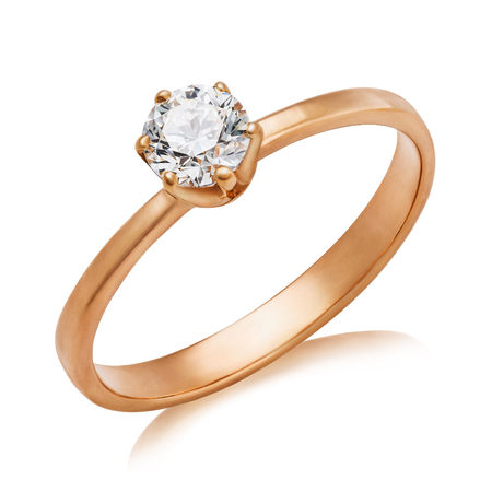Beautiful engagement ring with a large diamond isolated on a white background. The photo was obtained by stacking 写真素材