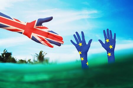 Help to the European Union from colleagues from the UK in a difficult situation. International relationships 免版税图像
