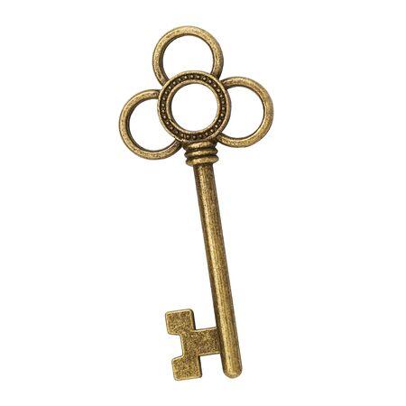One vintage key isolated on white background