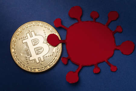 Bitcoin and paper virus model, top view. Concept of the impact of the coronavirus COVID-19 on cryptocurrency