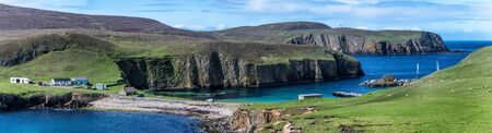 Fair Isle Scotland panorama with cliffs and costline Stock fotó