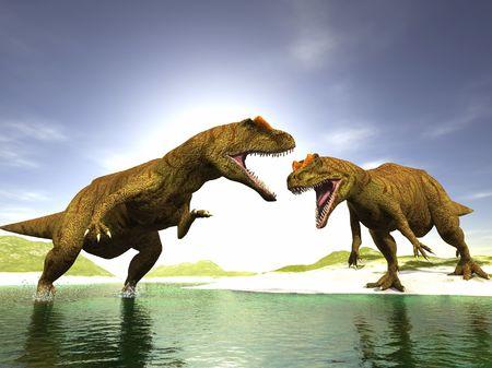dinosauro: ravenous scena due dinosauri eseguite in 3 D