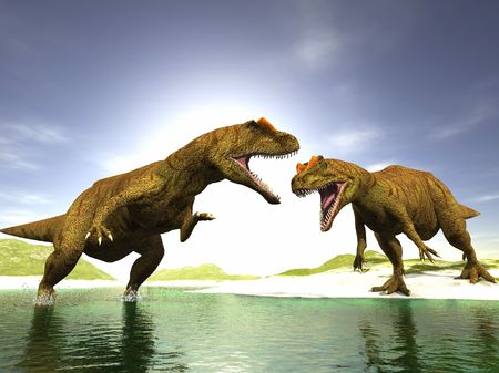 scene two ravenous dinosaurs Executed in 3 D