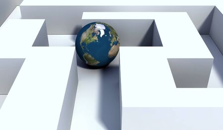Abstract scene globe in labyrinth photo