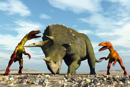 scene two ravenous dinosaurs Executed in 3D