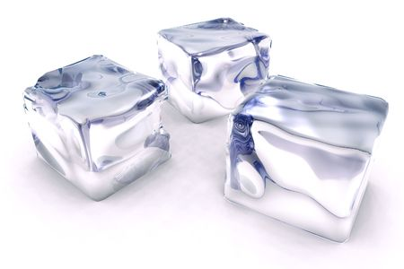 scene cubes ice  executed in 3D Stock Photo