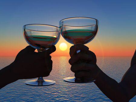 scene goblet in hand on background of the sundown photo