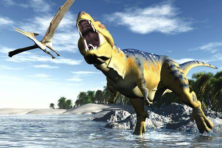 scene hunting tyrannosaurus Stock Photo