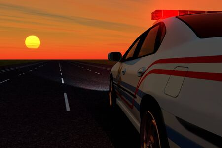 police car on background of the sundown