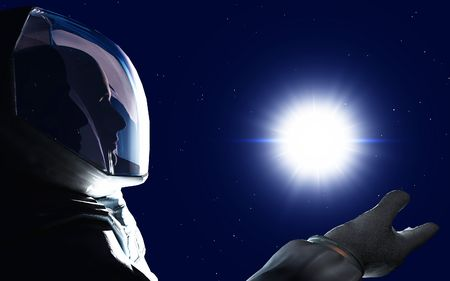 scene of the astronaut in space Stock Photo
