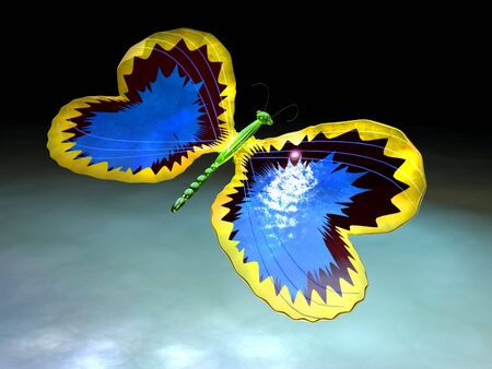 briliance: scene of the glass butterfly executed in 3D