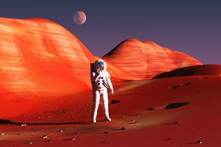 astronaut in space: scene of the astronaut on mars