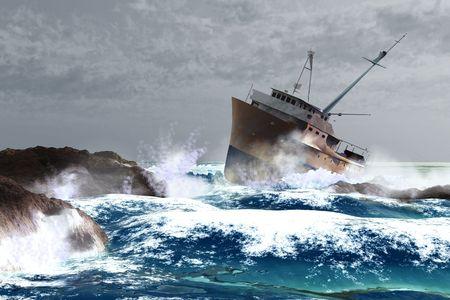 mare agitato: scena della nave e tempesta  Archivio Fotografico