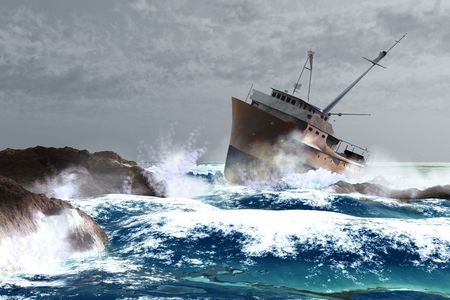 rough sea: scene of the ship and storm