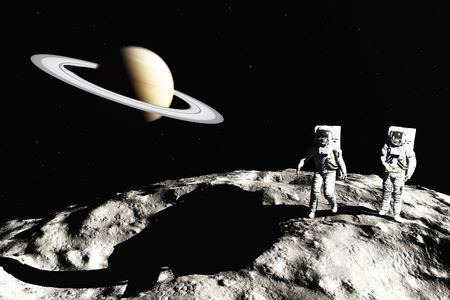 astronaut in space: scene of the astronaut on asteroid Stock Photo