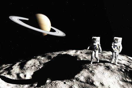 man in the moon: scene of the astronaut on asteroid Stock Photo